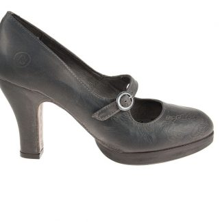 Zapato de salón con plataforma de piel natural