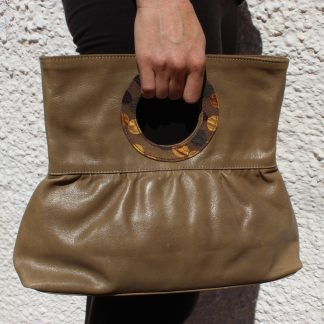 Bolso de Mano en Piel Natural, Clin D'oeil color Beige