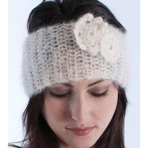 Pasador para la cabeza en Mohair lana y seda hecho a mano en color Morado