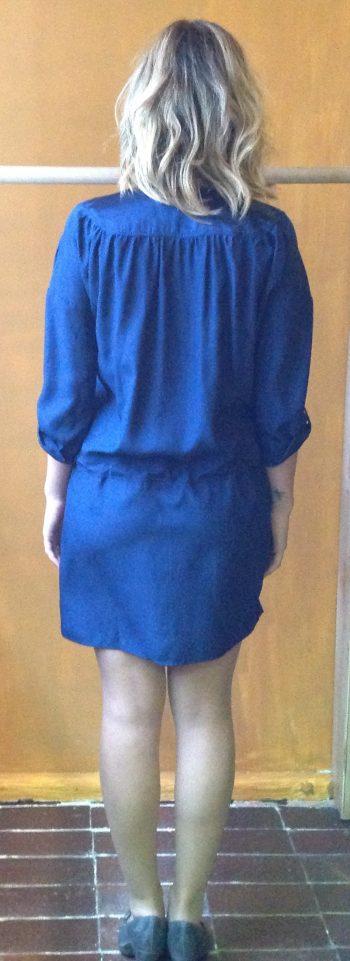 Vestido Canmisero de Seda Natural en Azul Marino
