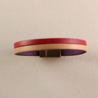 Pulsera de piel con dos tiras en color Rojo y Beige