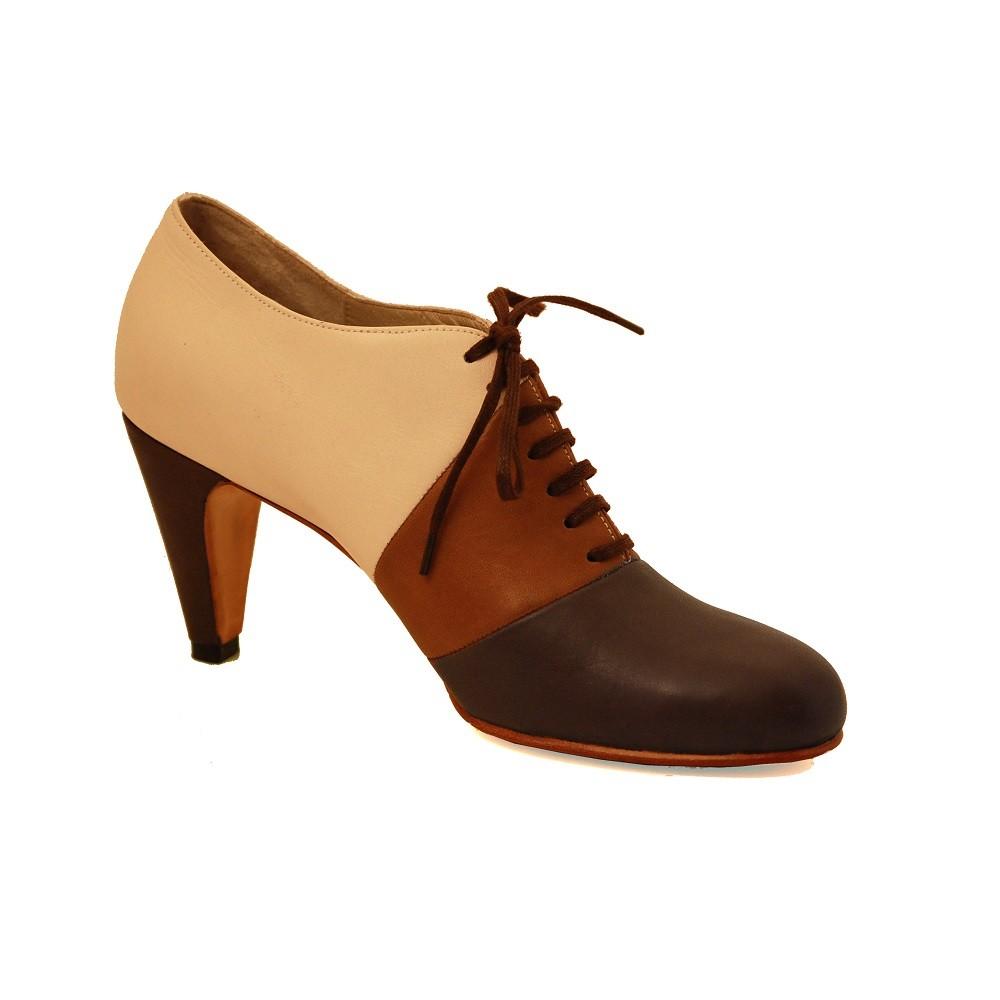 Zapatos de tacón en piel natural en 3 tonos